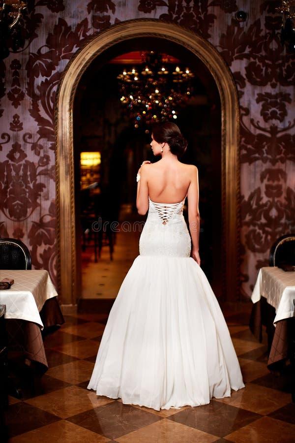 Beautiful bride in white wedding dress royalty free stock photos