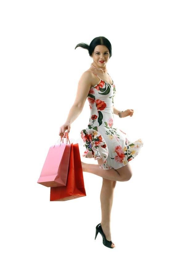 Happy Beautiful Shopper Stock Image
