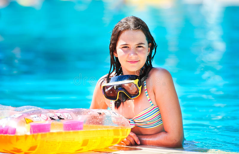 Download Happy Beautiful Teen Girl Smiling At The Pool Stock Image - Image: 26197759