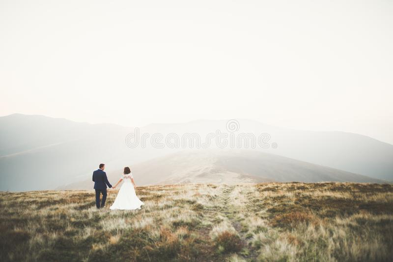 Happy beautiful wedding couple bride and groom at wedding day outdoors on the mountains rock. Happy marriage couple. Outdoors on nature, soft sunny lights stock image