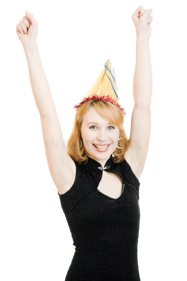 Download Happy Beautiful Woman In A Festive Hat Stock Photo - Image: 23887406