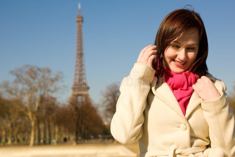 Happy beautiful woman in Paris stock images