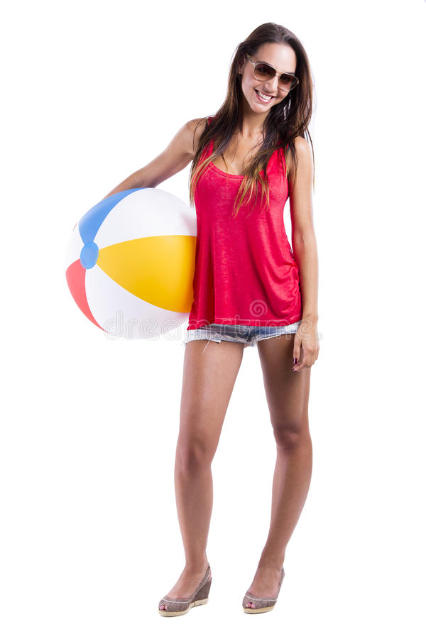 Download Woman with a beach ball stock image. Image of beach, enjoy - 29846515