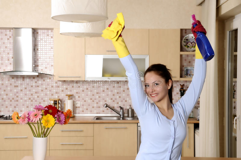 Happy beautiful women after cleaning the house royalty free stock photo