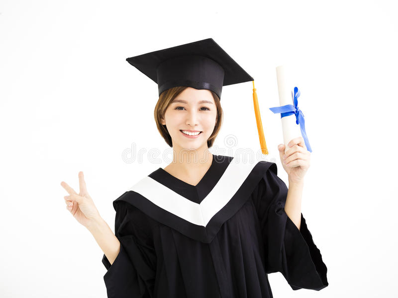 Happy beautiful young asian graduate royalty free stock photos