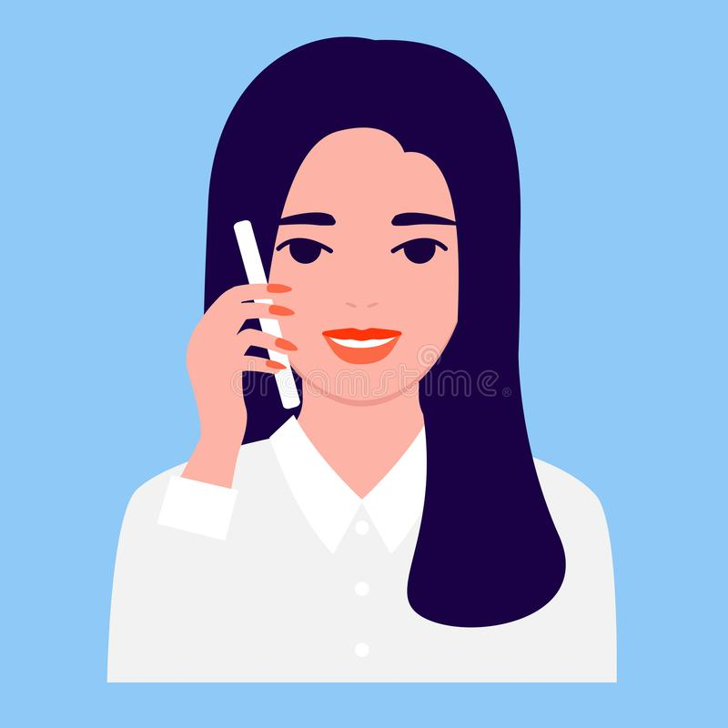 Happy beautiful young woman is calling, front view. Communication, conversation, answer, support, talk, discussion. Dialogue on smartphone, mobile phone Vector royalty free illustration
