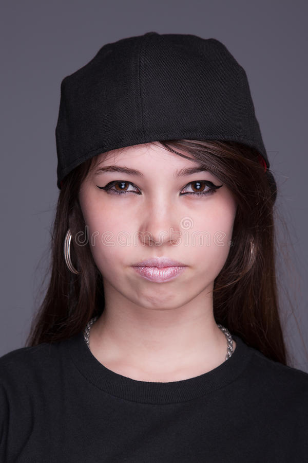Happy and beautiful young woman, with a hood royalty free stock photos