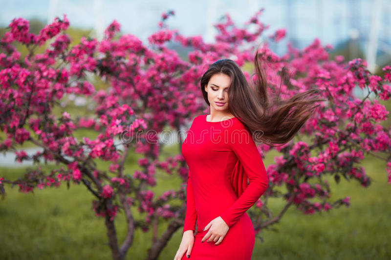 Happy beautiful young woman in spring blossom park. Attractive female in red dress enjoy spring fresh pink flowers stock photography
