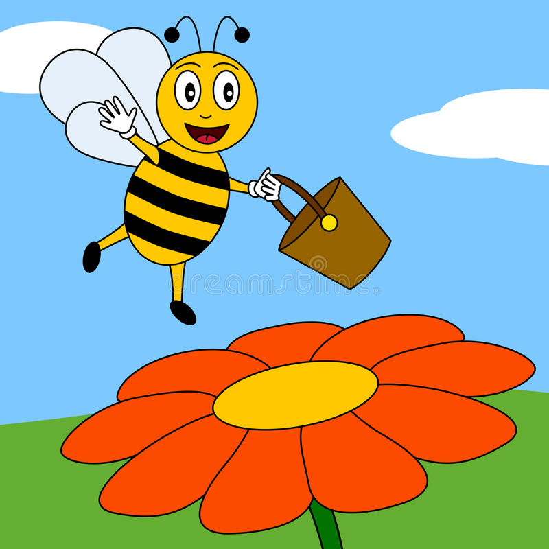 Happy Bee on a Flower. A happy cartoon bee reaching a flower with the pot for the honey. Eps file available vector illustration