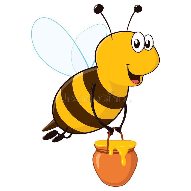 Happy Bee with Honey Jar royalty free illustration