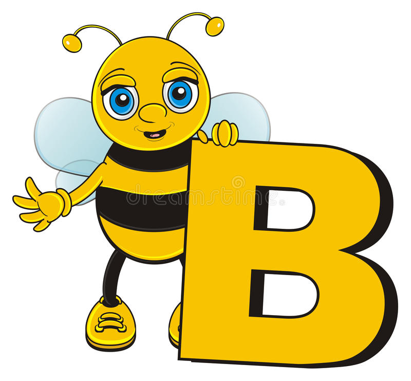 Happy bee stand next to the letter bee. Smiling bee peek up from the big yellow letter B stock illustration