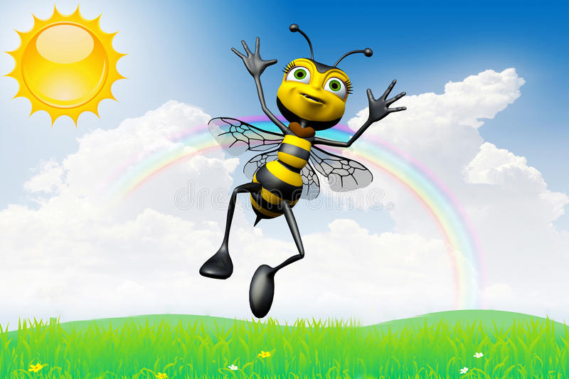 Download Happy bee sunny day stock illustration. Illustration of flower - 15583870