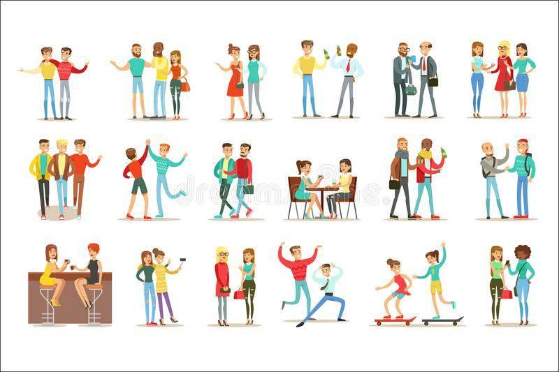 Happy Best Friends Having Good Time Together, Going Out And Talking Set Of Friendship Themed Illustrations royalty free illustration