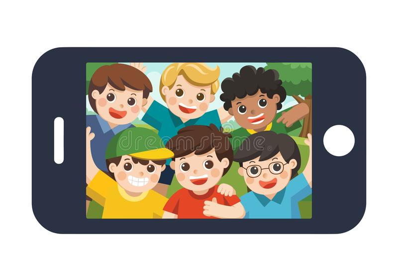 Happy best friends selfie photo on smartphone display. Vector illustration royalty free illustration