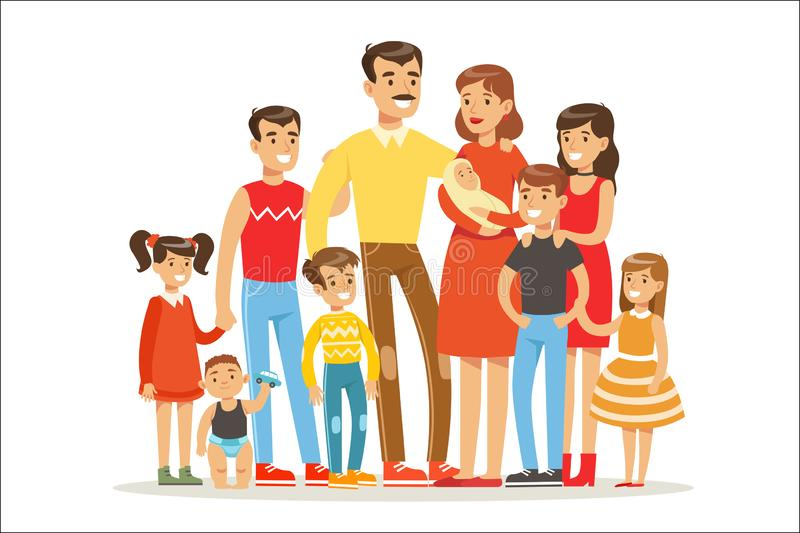 Happy Big Caucasian Family With Many Children Portrait With All The Kids And Babies And Tired Parents Colorful. Illustration royalty free illustration