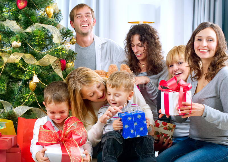 Happy Big family with Christmas presents at hom stock image