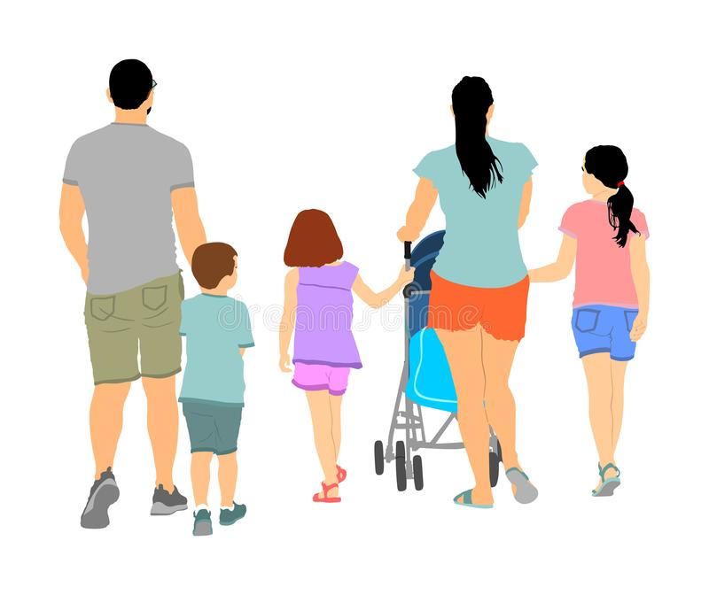 Happy big family enjoying holding hans vector illustration isolated on white. Fathers day. Mothers day. Dad, mom and baby in pram. stock illustration
