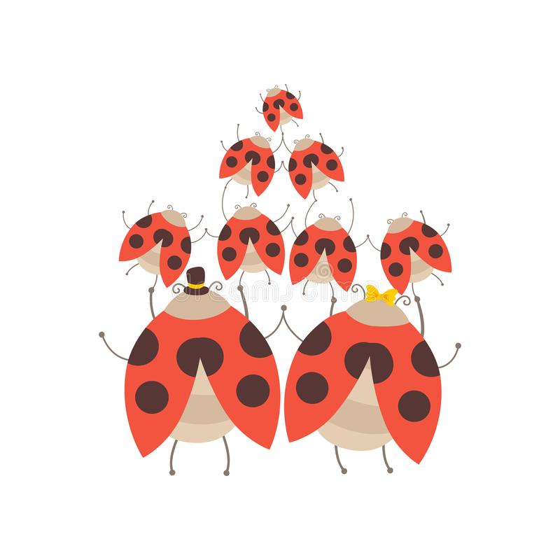 Happy Big Family of Ladybugs, Cheerful Mother, Father and Their Babies, Back View, Adorable Cartoon Insects Characters. Vector Illustration on White Background stock illustration