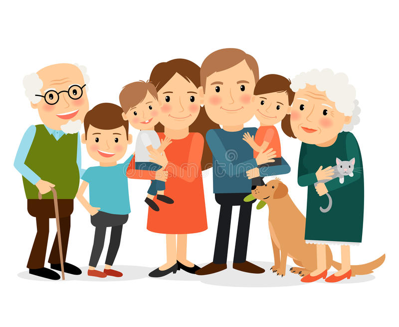 Happy big family portrait stock vector. Illustration of ... Grandparents Family Clipart