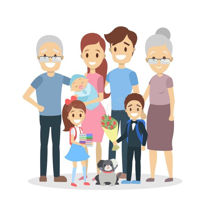 Happy big family portrait royalty free illustration