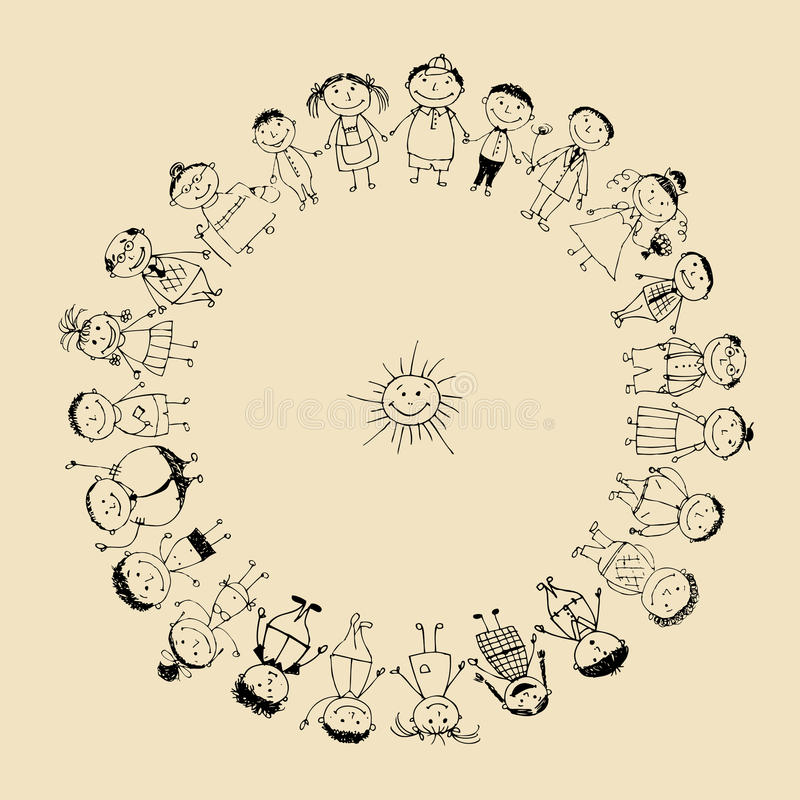 Download Happy Big Family Smiling Together, Drawing Sketch Royalty Free Stock Photos - Image: 16494268