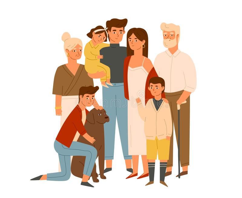 Happy big family together flat illustration. Wife and husband with senior grandparents, kids. Grandparents with. Grandchildren and dog portrait. Parents royalty free illustration