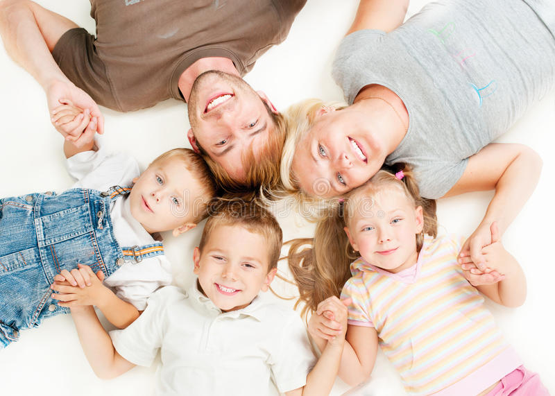 Happy Big Family. Together on White Background