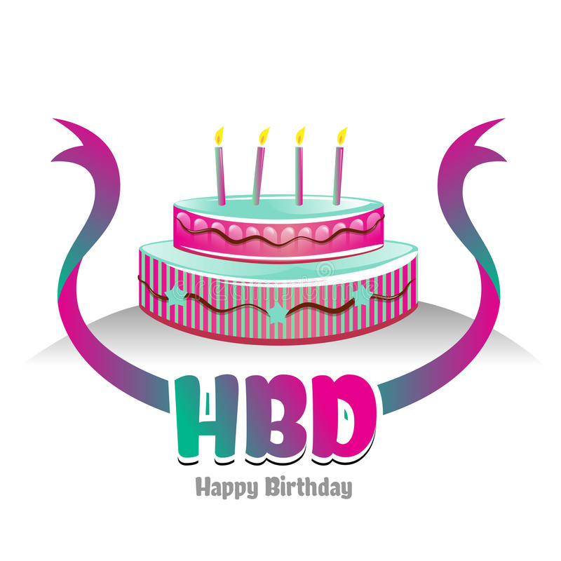 Happy Birth Day Logo Symbol With Cake Design Stock Vector