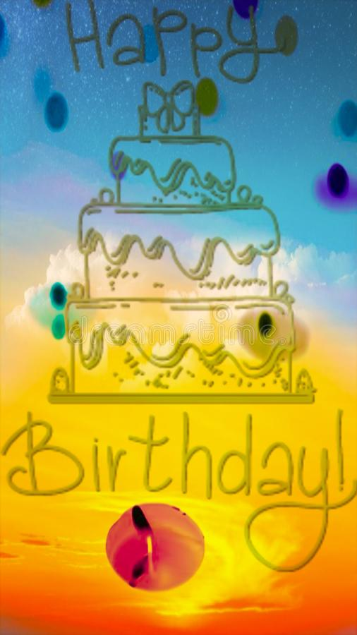Happy birth day text written on multicolored abstract background royalty free stock photography