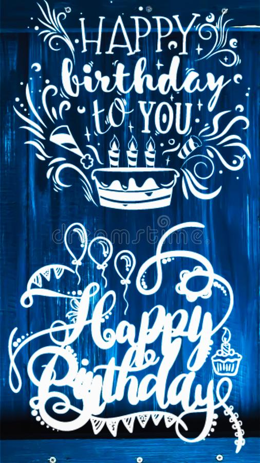 Happy birth day to you text displayed on two type style on wooden frame royalty free stock images
