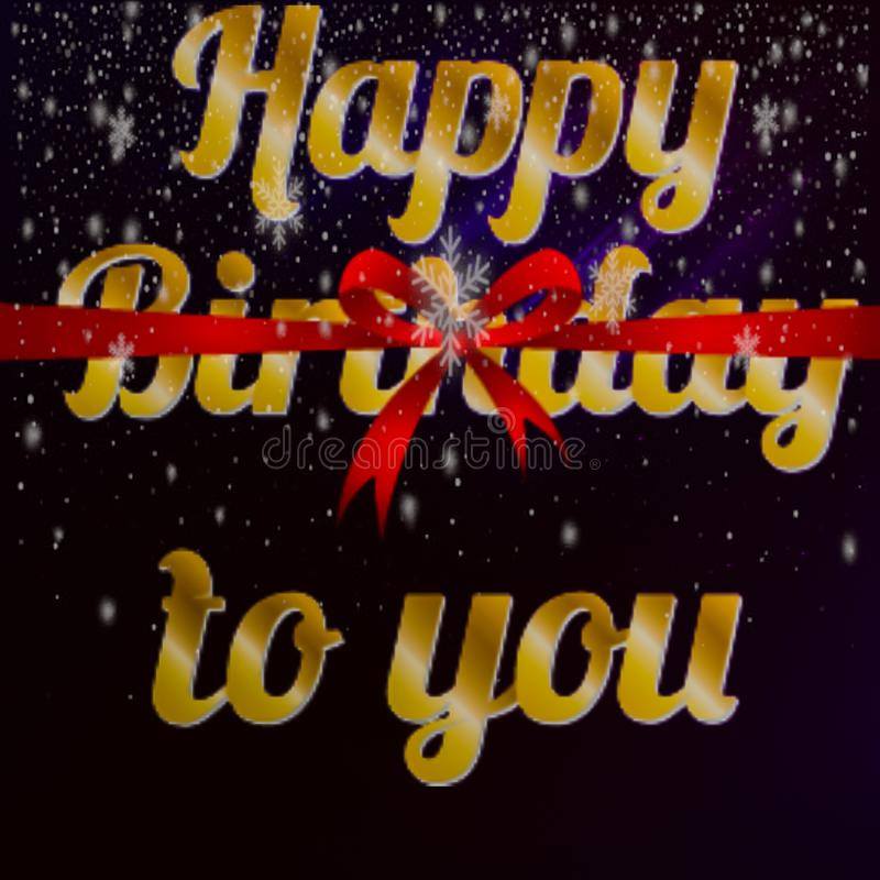 Happy birth day to you text with red ribbon illustrations stock image