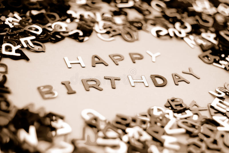Happy birthday. 'Happy Birthday' message made from miniature letters stock image