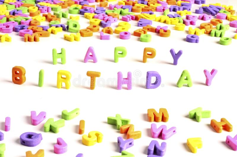 Happy birthday. Letters from the alphabet stock photos