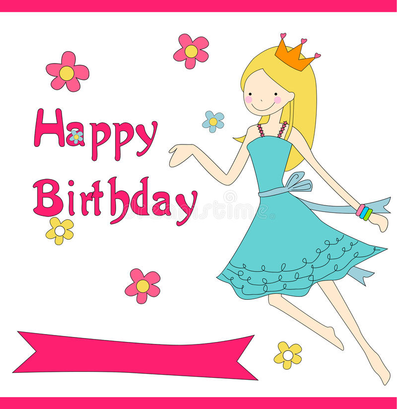 Happy birthday. Card - To a girl vector illustration