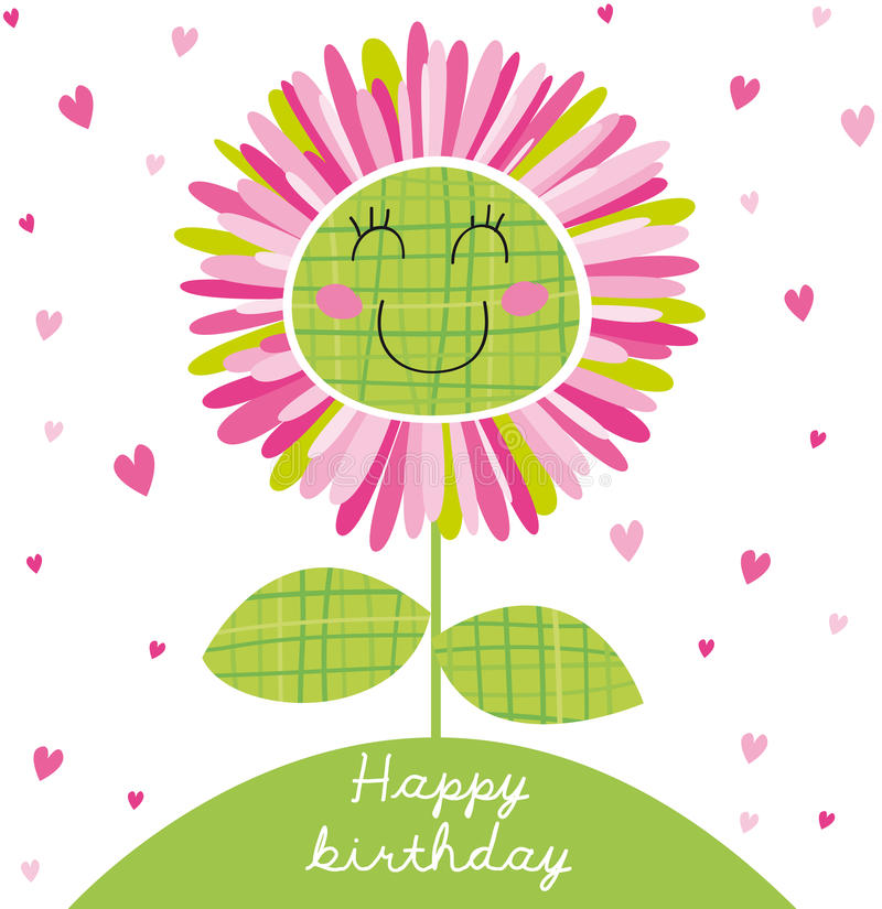 Happy birthday. Birthday card with beautiful flower