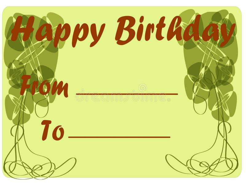 Classic Happy birthday greeting card in green tone stock image