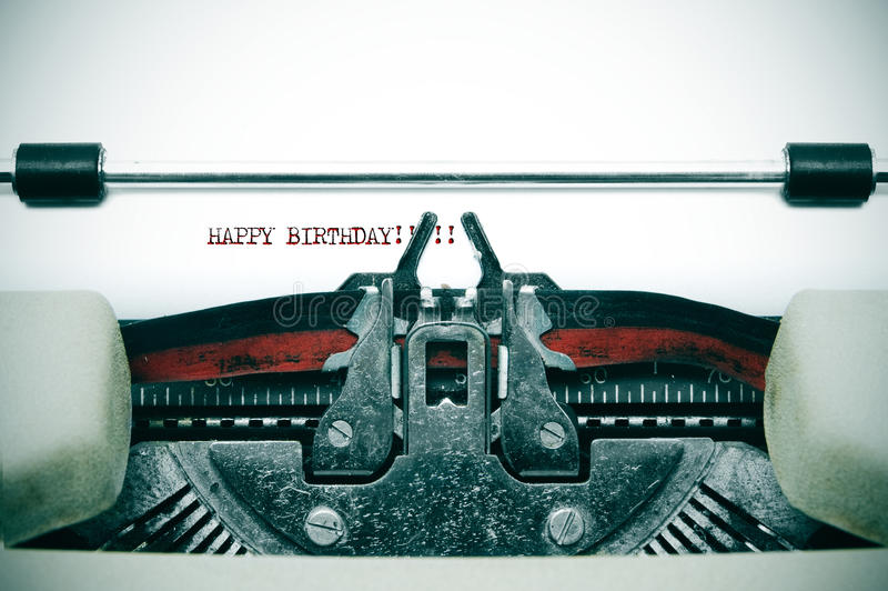 Happy birthday. Written with an old typewriter stock photography