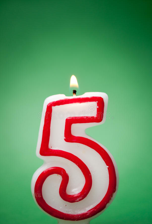 Happy birthday. Fifth happy birthday candle or five for anniversary, RAW available stock images