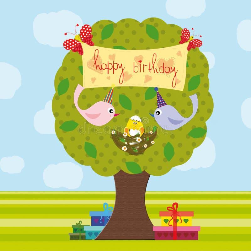 Happy birthday. Bird-parents congratilate their little nestling happy birthday royalty free illustration