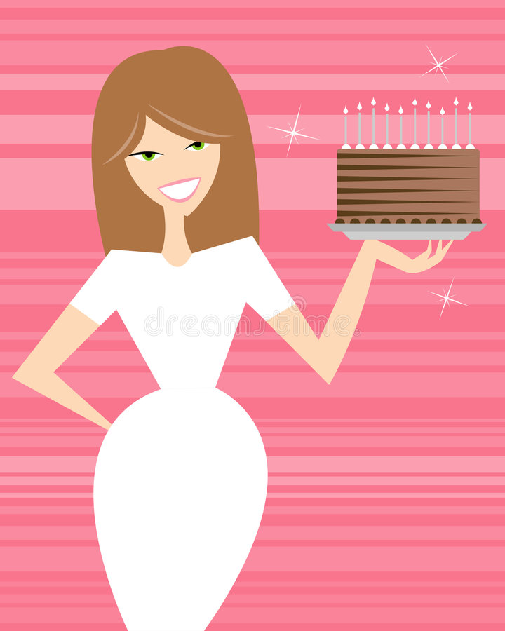 Happy Birthday. Mr. President! A cute brunette holds a delicious cake, perfect for any occasion