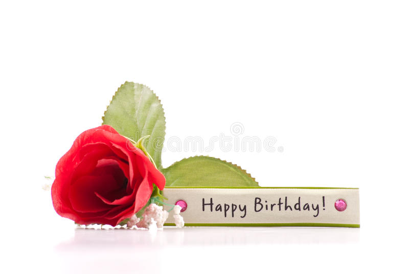 Happy Birthday. Simple Happy Birthday Greeting Tag with Red Rose stock photography