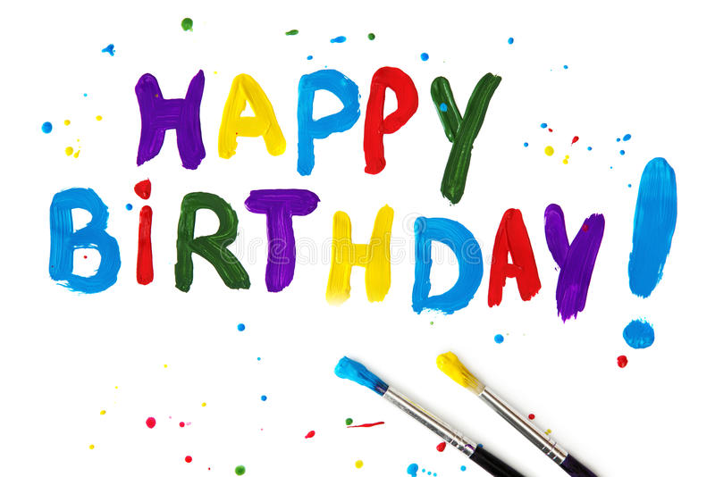Happy birthday. Letters on paper royalty free stock photo