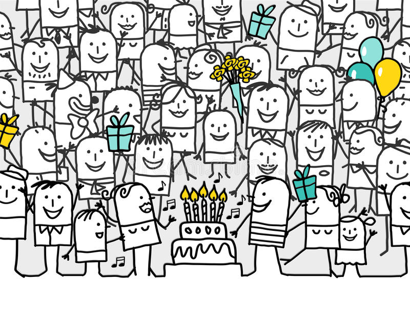 Happy birthday. Hand drawn cartoon greeting card - happy birthday royalty free illustration