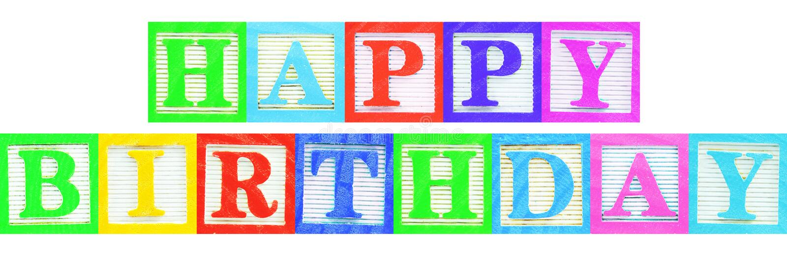 Happy birthday. Colorful happy birthday message isolated against white royalty free stock photos