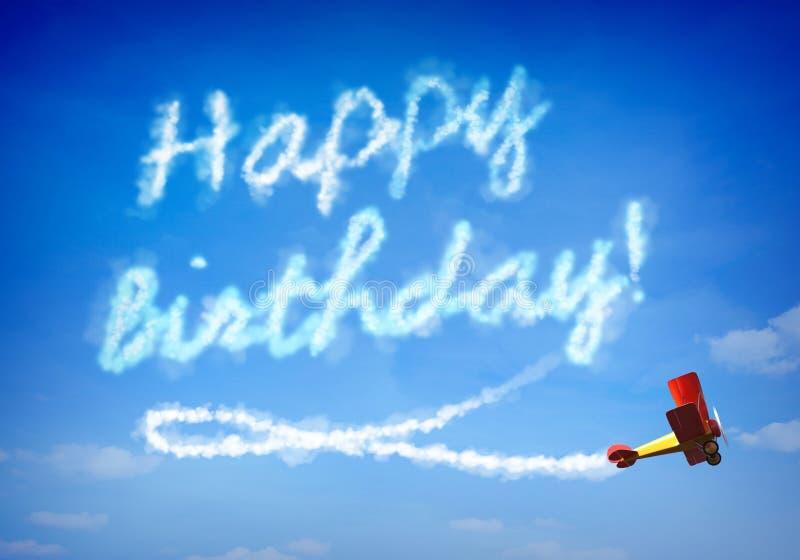 Happy birthday. Written by a plane