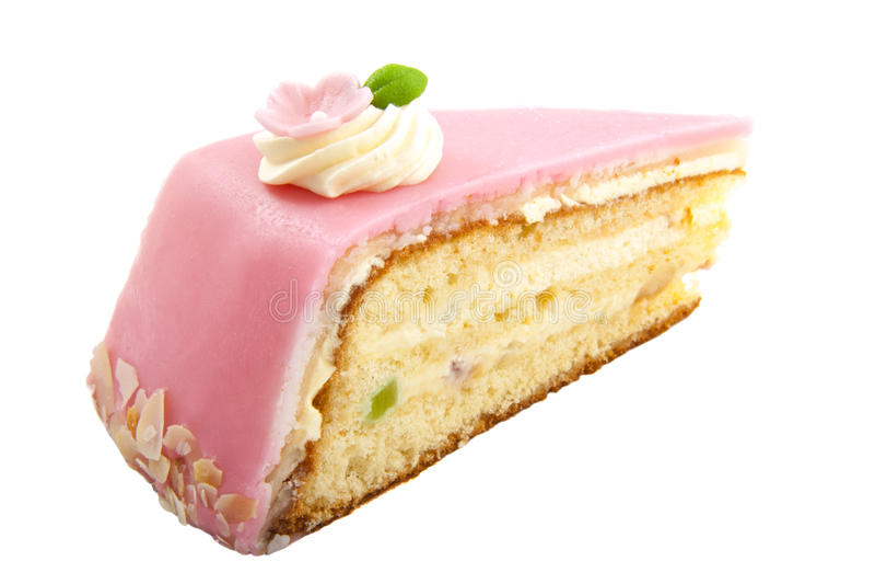 Happy birthday. Delicious pink birthday cake isolated over white stock image