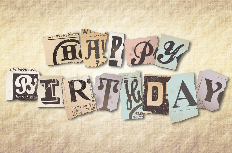 Happy Birthday. Alphabetical paper cutting for happy birthday stock images