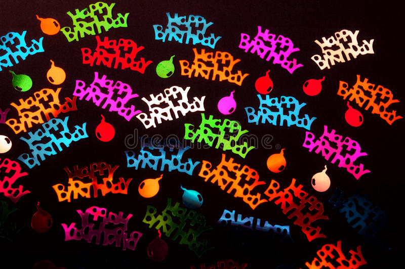 Happy birthday. Titles on the black background stock photos