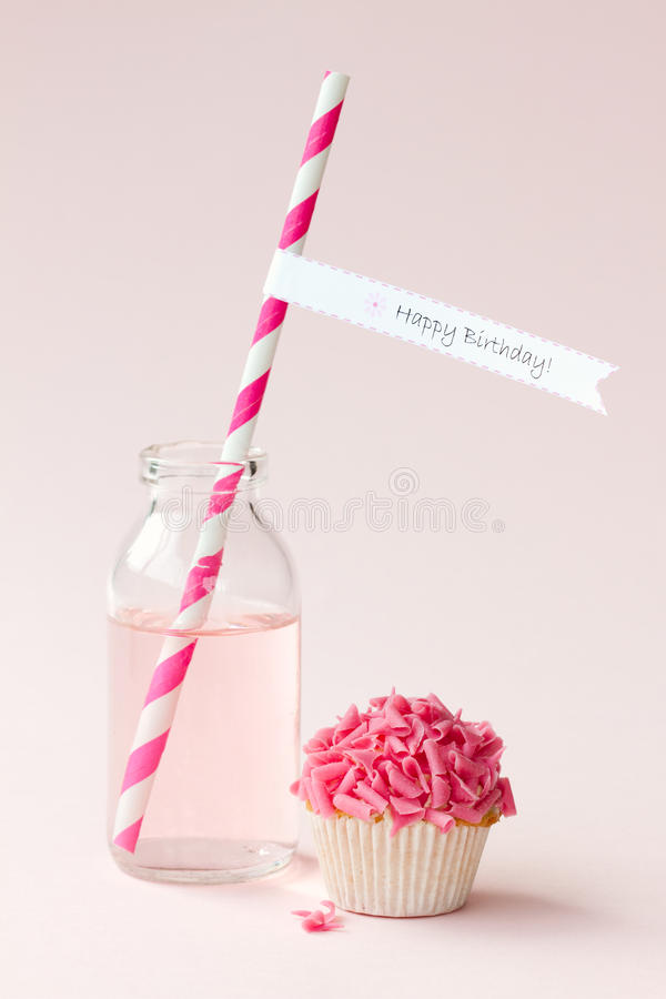 Download Happy birthday! stock photo. Image of bottle, pink, cake - 24395894