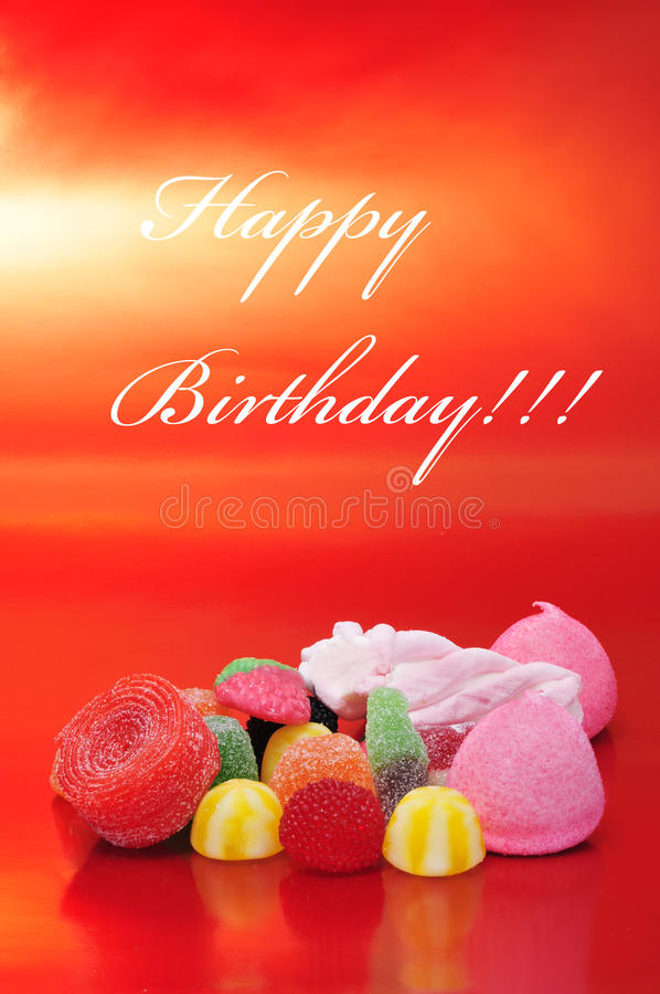 Happy birthday. Written in different colors in a blackboard label royalty free stock photo